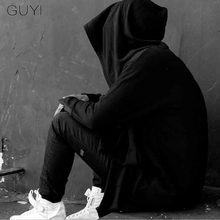 GUYI Black Assassins Creed Darkness Man Wizard Hat Trench Men Hooded Solid Long Cardigan Fashion Gothic Movie Around Coats(China)
