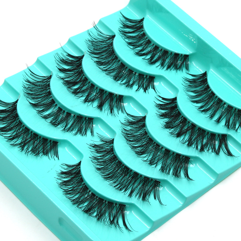 YOKPN New Stage Nude Makeup False Eyelashes Naturally Thick Crisscross Messy Fake Eyelashes Handmade Transparent Stems Lashes