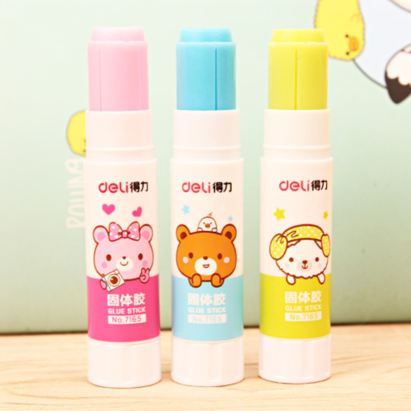 3 Pcs PVA Colored Glue Stick For Kids Green Blue Pink 9g High Viscosity Solid Glue Student Stationery 80x20mm Deli 7165