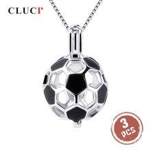 CLUCI 3 шт., серебро 925 пробы, футбольный мяч, кулон, женское ювелирное изделие, подарок, Настоящее серебро 925 пробы, форма для футбола, жемчужная клетка, медальон SC373SB