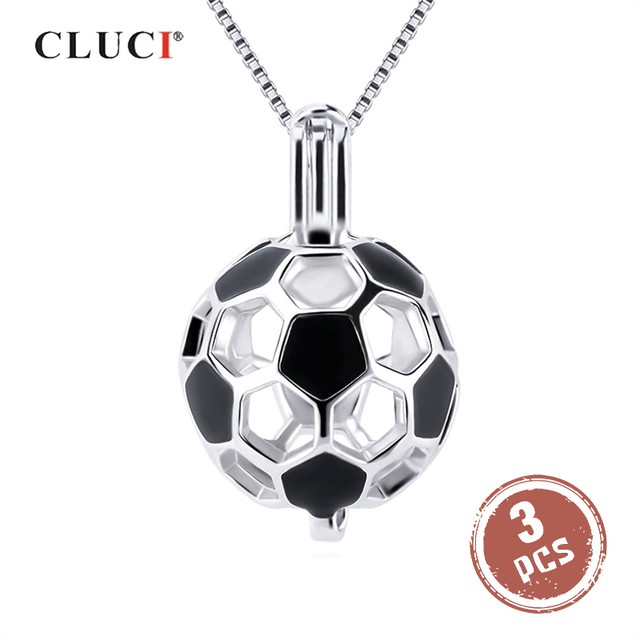 CLUCI 3pcs 925 Sterling Silver Soccer Ball Pendant Women Jewelry Gift Real Silver 925 Soccer Shaped Pearl Cage Locket SC373SB