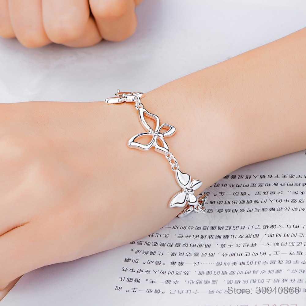 מקסים פרפר דפוס צמידי אמיתי 925 כסף סטרלינג מעוקב Zirconia לנשים נשי די חתונה עיצוב מתנות