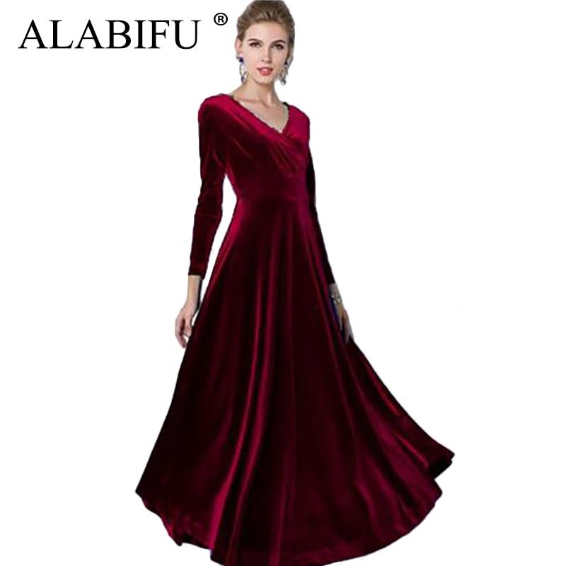 ALABIFU Autumn Winter Dress Women 2019 Casual Vintage Ball Gown Velvet Dress Plus Size 3XL Sexy Long Party Dress Vestidos