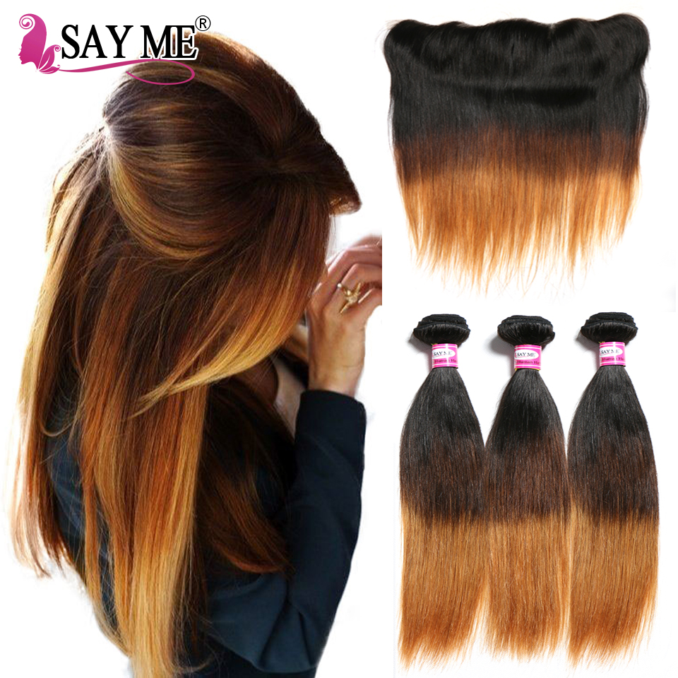 Brazilian Straight Hair Bundles With Closure Ombre Human Hair 3 Bundles With Frontal Closure 13x4 SAY