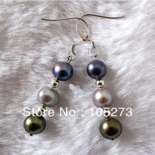New Arriver Pearl Jewelry AA4-8MM Gray Peacock Olive Natural Freshwater  Pearl Dangle Earrings S925 4037843f28f4