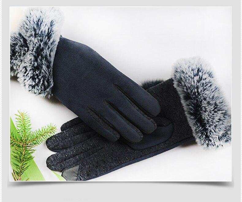 LongKeeper Autumn Elegant Winter Gloves Driver/'s Screen Touch Pompom Fur Rabbit