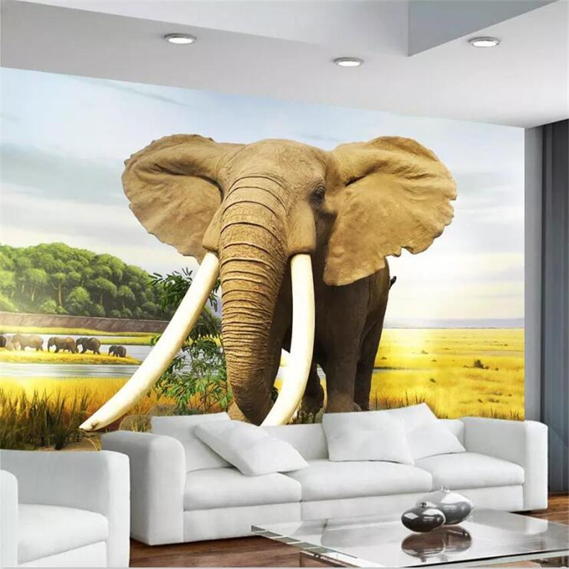 Beibehang Custom Wallpaper Large High-end New Modern Minimalist Elephant Decorative Painting Mural Living Room Bedroom Wall