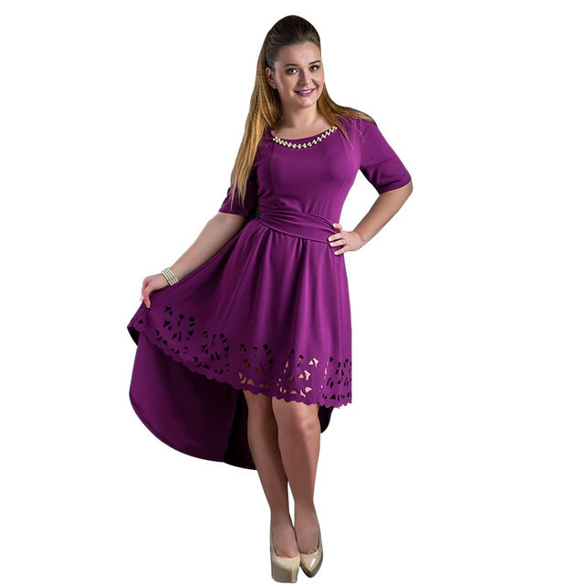 Plus Size High-Low Hollow Out Flare Casual Dress 3