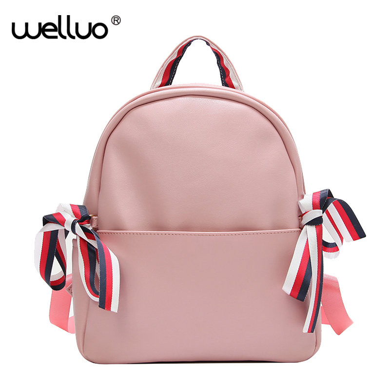 Women Bow Backpack High Quality PU Leather Mochila Preppy Style Shoulder Bags for Teenage Girls Solid Travel School Bag XA270WB pu leather backpacks women solid zipper mochila escolar school bags for teenagers girls travel casual shoulder bag blue backpack