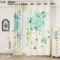 LzL Home Cute Cartoon Animals Map Window Curtains For Kids Room Fashion Blackout Curtains For Bedroom