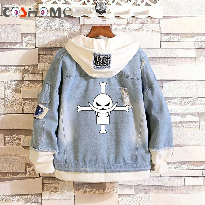 Coshome Anime One Piece Luffy Ace Trafalgar Law Hip Hop Spring Jacket Streetwear Men Women Denim Coat