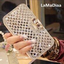 LaMaDiaa الفاخرة بلينغ حجر الراين الماس لسامسونج غالاكسي S20 نوت 10 S8 S9 S10 زائد محفظة الوجه الهاتف حافظة جلدية الغلاف