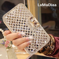 Luxury Bling Rhinestone Diamond for Samsung Galaxy Note 4 Note 5 Note8 S5 S6 S7 S8 S9 Plus Wallet Flip Phone Leather Case Cover