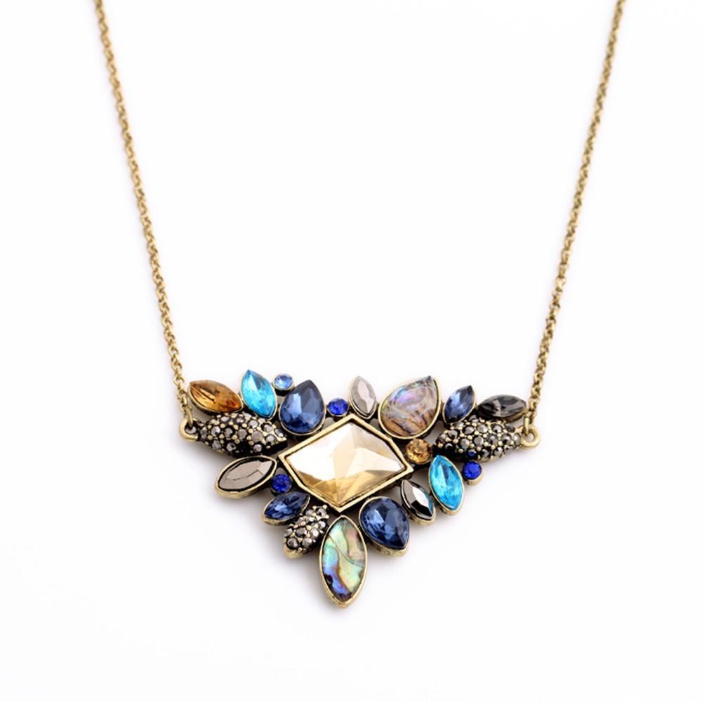 Fashion Colorful Rhinestone Necklaces Pendants Boho Flower Ns