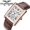 The China Brand GUANQIN Watch Men Fashion Casual Waterproof Quartzwatch Brown Leather Strap Relogio Masculino 2016 Free Shipping