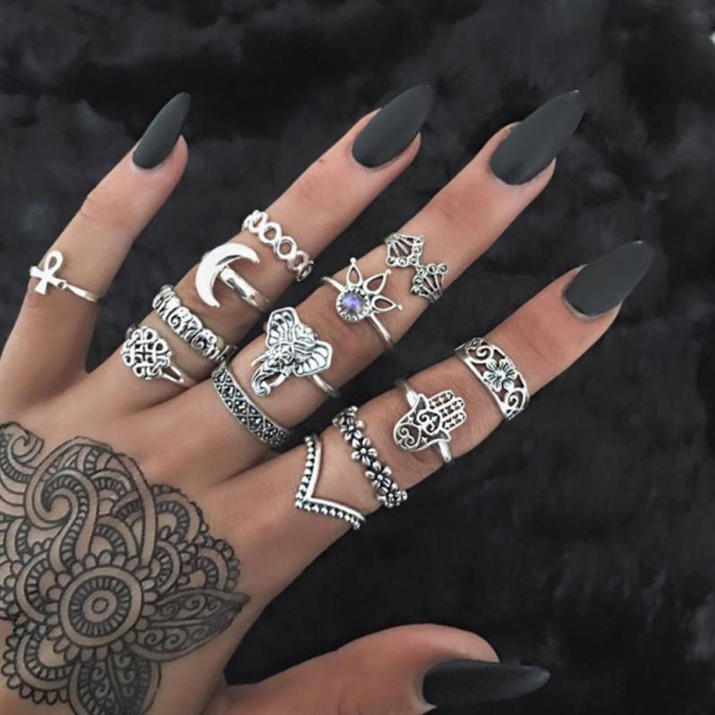 13pcs/Set Punk Rings Set For Women Antique Gold Color Carved Knuckle Finger Ring Elephant Fatima Hand Rings Female