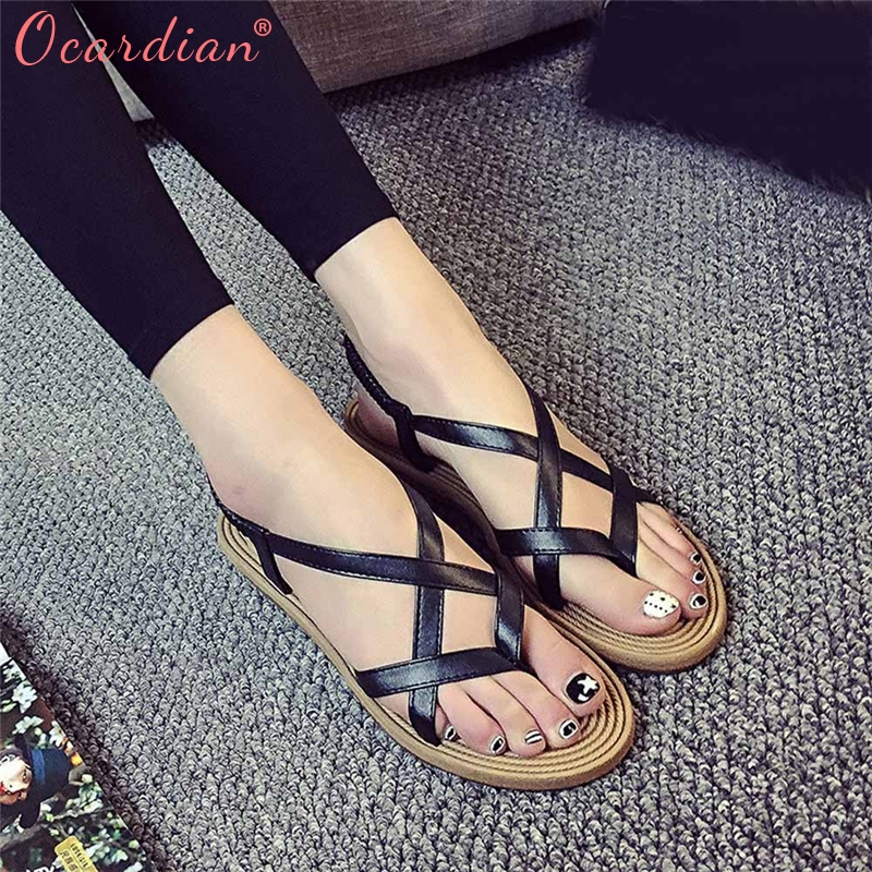 2018 Women Flat Shoes Bandage Bohemia Leisure Lady Sandals Peep-Toe Outdoor Shoes Sandalia Feminina Lucky цена