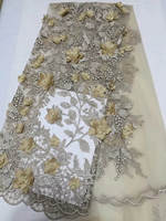Gold African French Lace Fabric High Quality 3d Flower African Tulle Lace Fabric For Wedding Beaded