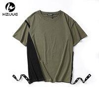 HZIJUE High Street Original Design Fashion Hip Hop Men T Shirts Short Sleeve O Neck Cut