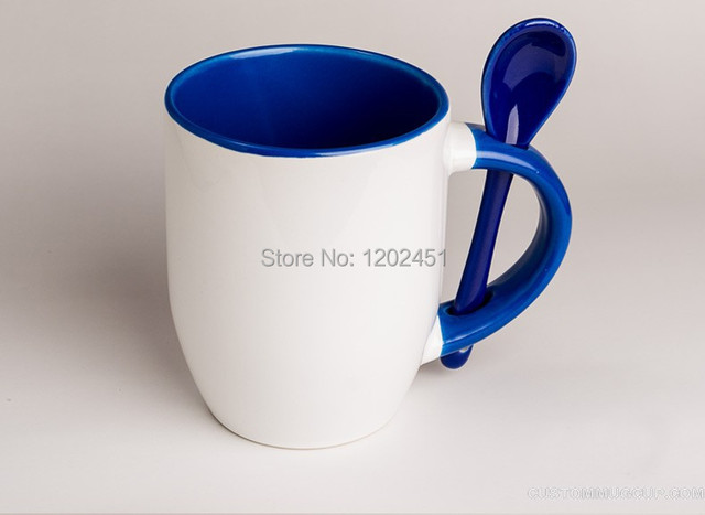spsco two tone color customized ceramic mugs with spoon printed