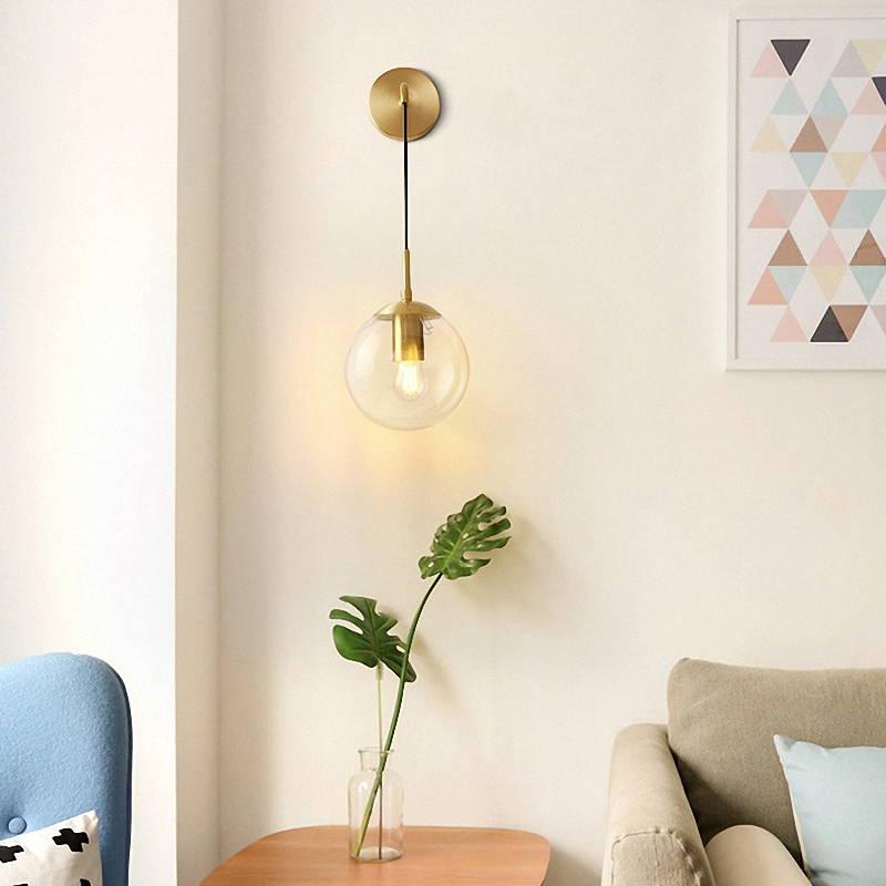 Postmodern Nordic LED Copper Glass Lampshade Lights For Restaurant Dining Room Bed Room Hanging Lamp Home Deco Light Fixtures