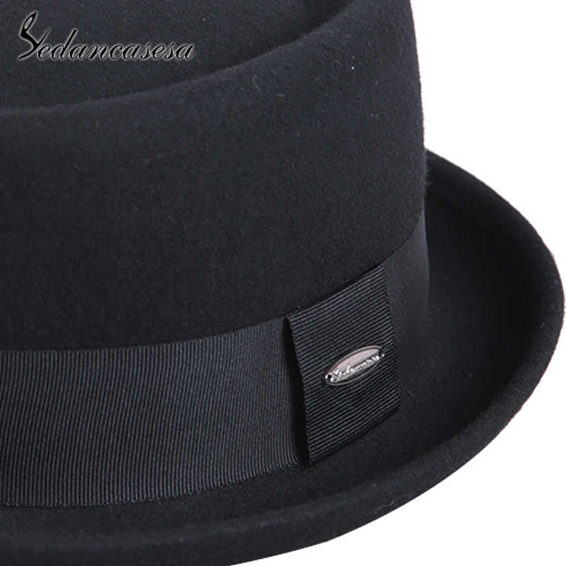 ... Sedancasesa 100% Australia Wool Men s Fedora Hat Pork Pie Hats for  Classic Church Wool Felt ... 55c9a5873512