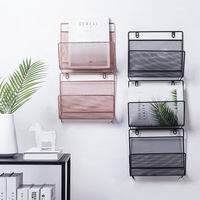 Nordic style White Gold Iron Grid Storage Rack Wall Hanging Shelf Home Organizer Decoration For Book Magazine Livingroom Bedroom