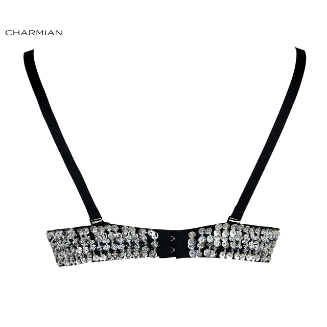 Charmian Women's B Cup Bra Top Sequin and Beaded Dance Sliver Underwire Top Party Nightclub Bra Crop Top Corset and Bustiers