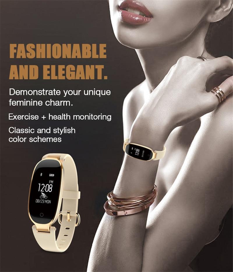 Fitness Armband Women Heart Rate Monitor Smart Bracelet For Run Cycling APP Watch Smartband Facebook Skype Whatapp Social Clock