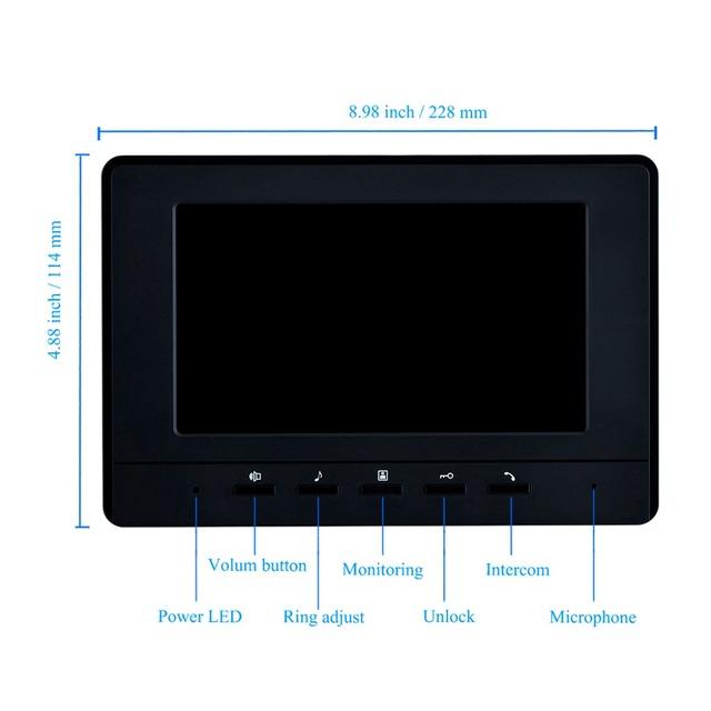 "7"" Color Video Intercom RFID Camera Video Doorbell with 2 / 3 / 4 Monitors"