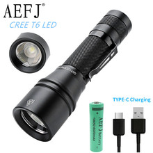 10000LM T6 LED Flashlight zoomable Focus Torch Light Mini USB Type-C Quick Charge use 18650 Camping Equipment lamp