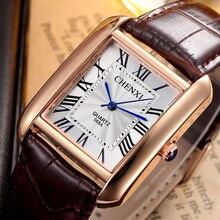 Venta caliente CHENXI Popular Marca de Lujo de Los Hombres Relojes de Cuarzo Mujeres Banda de Cuero Genuino Reloj de Vestir Casual Retro Rectángulo Marcado Reloj