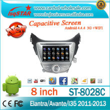 For 4-core Capacitive Touch Screen Hyundai Elantra / Avante / I35 2011-2013 Car DVD player GPS with GPS+IPOD+BT+Radio+AUX +DVR