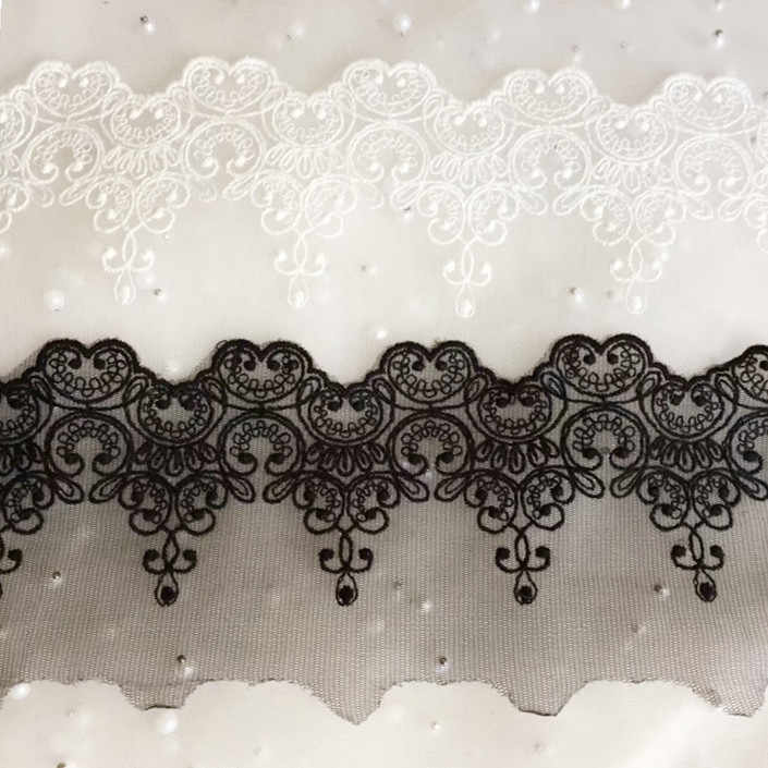 DIY Fabric Lace Black White Sweet Cordate Lace Trim  DIY Craft Materials  Clothing Accessories Lace Embroidery RS80