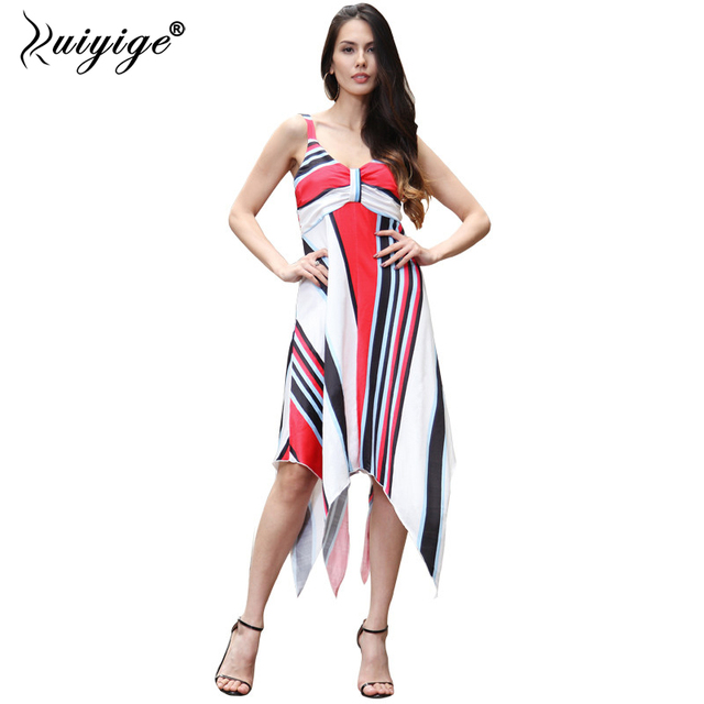 92910a1de61d6 2018 RUIYIGE harness dovetail party beach holiday summer floral plus size  tunic sleeveless sexy strapless casual ladies dress
