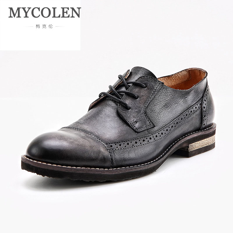 MYCOLEN High Quality Men Shoes British Style Carved Genuine Leather Shoe Brown Brogue Shoes Lace-Up Business Mens FlatsMYCOLEN High Quality Men Shoes British Style Carved Genuine Leather Shoe Brown Brogue Shoes Lace-Up Business Mens Flats