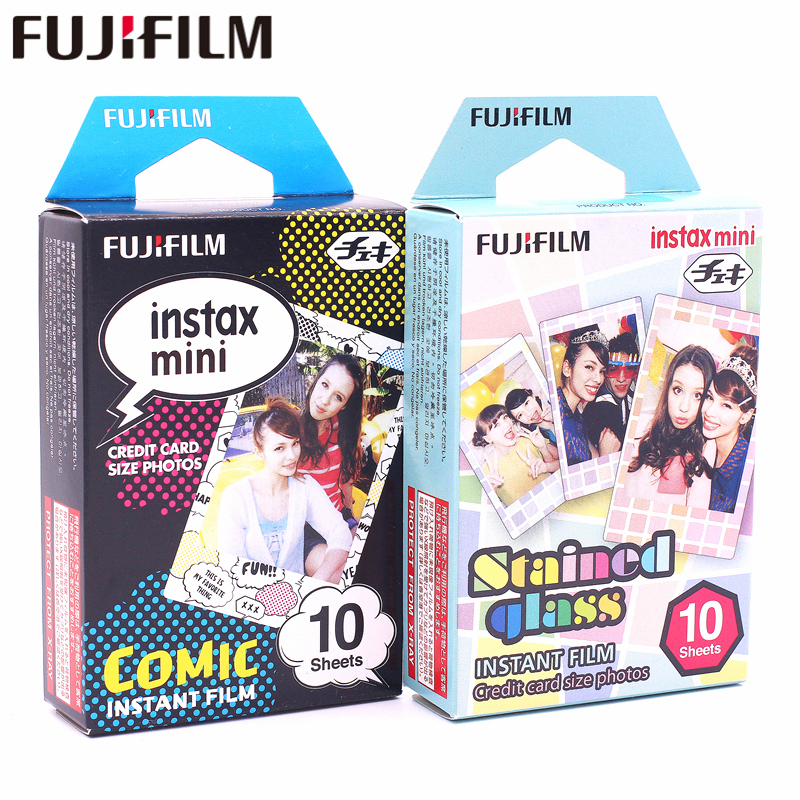 Galleria fotografica Fujifilm 20 sheets Instax Mini Stained glass + Comic Instant Film photo paper for Instax Mini 8 7s 25 50s 90 9 SP-1 SP-2 Camera