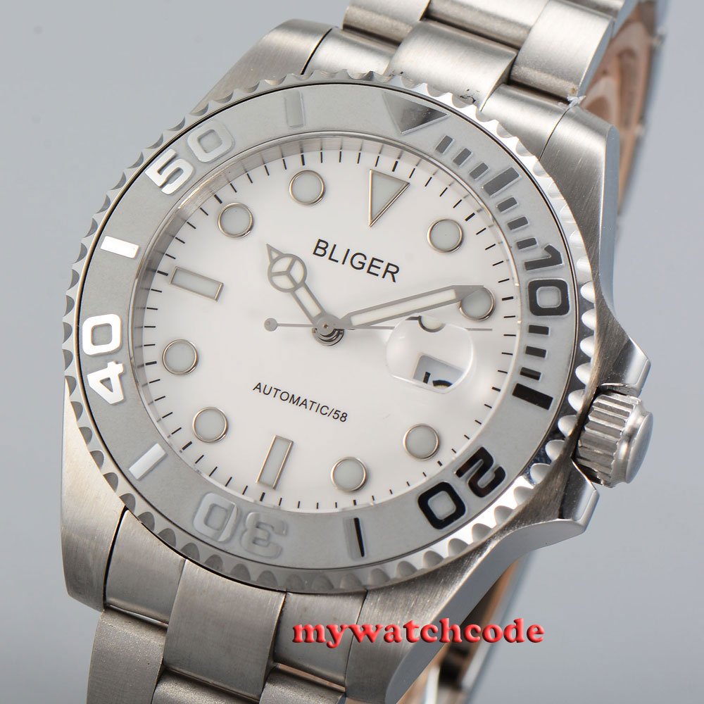 Bliger white dial deployment clasp sapphire crystal automatic mens watch P35BBliger white dial deployment clasp sapphire crystal automatic mens watch P35B