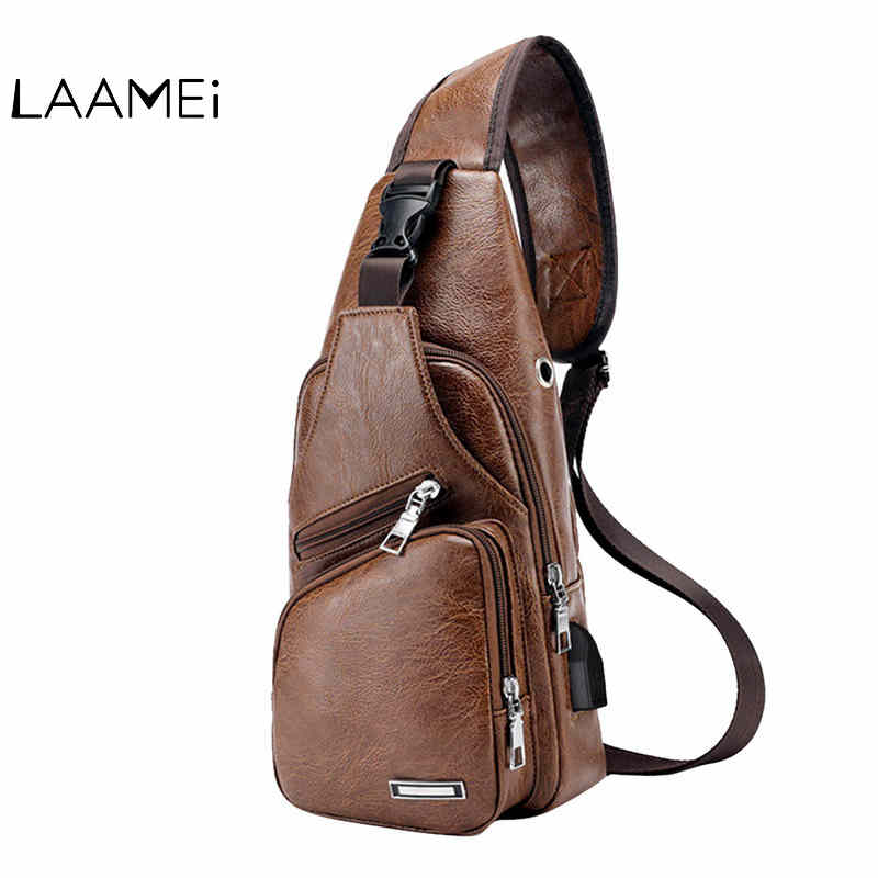 Laamei Men Crossbody Bags Messenger Leather Shoulder Bags Chest Bag USB With Headphone Hole Designer Package Back Pack