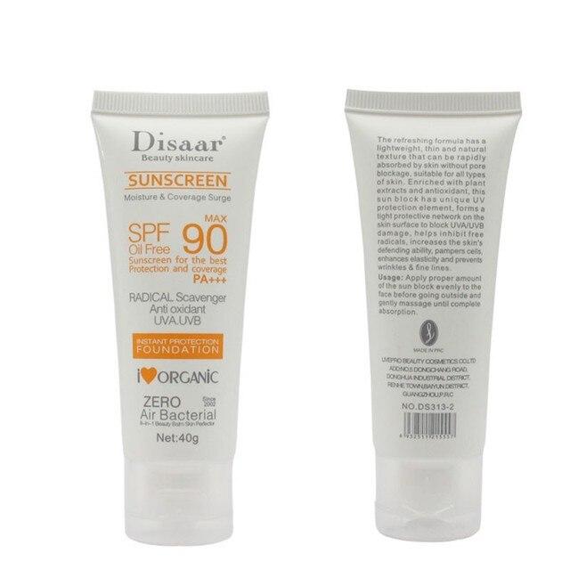 Crema de protección solar Facial para el cuidado de la piel FPS 90 limpiador de aceite sin aceite Anti oxidante UVA/UVB 40g crema de día Anti sol