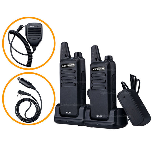 2PCS Mini Walkie Talkie NKTECH NK-U1 VS WLN KD-C1 400-470MHz 5W 16 Channels Handheld Ham Transceiver Two-way Radio +Cable+mic