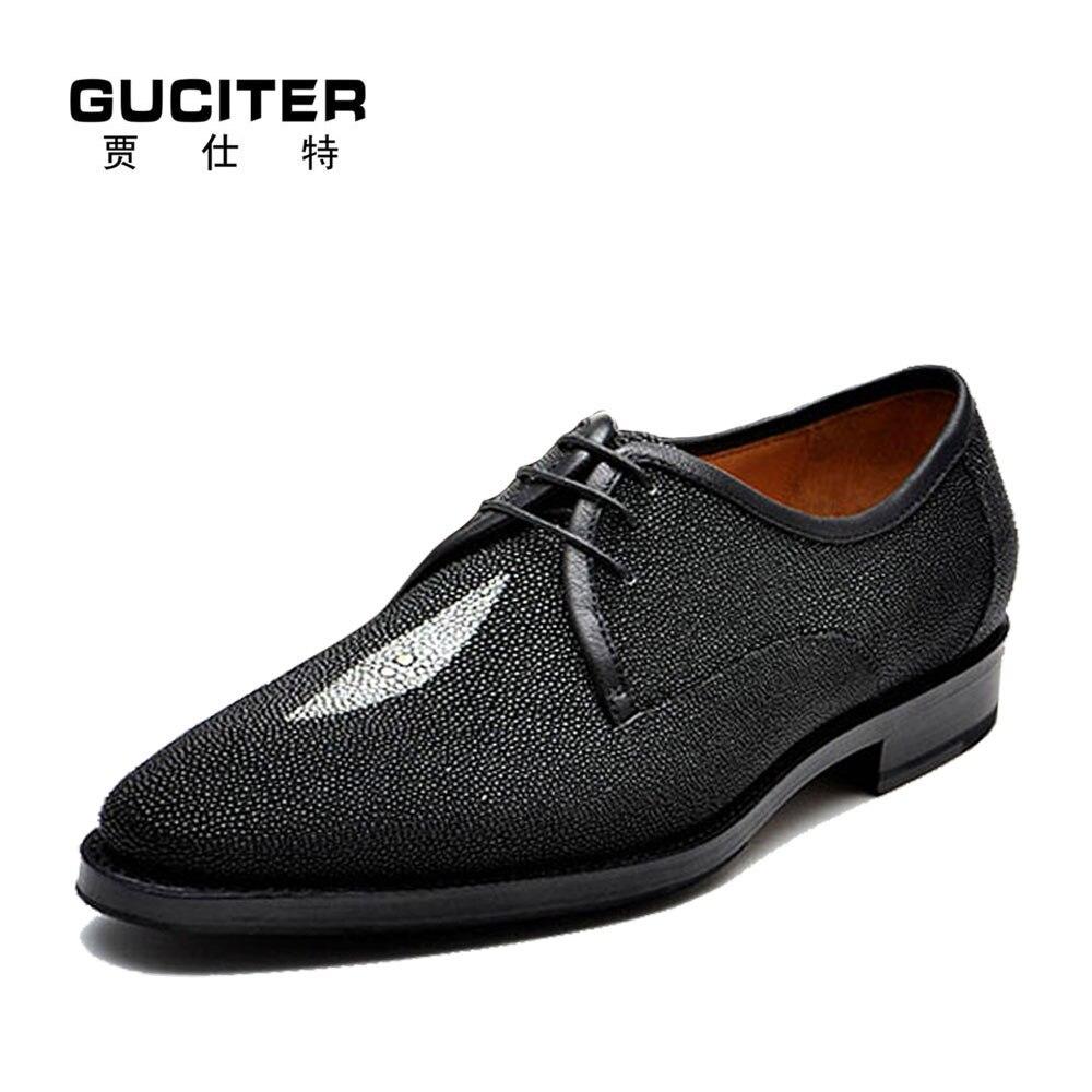 ea75f5586bf5 Goodyear мужские туфли из кожи ската, сделанные на заказ, туфли из редкой  жемчужной кожи с острым носком, модельные туфли в деловом стиле, ...