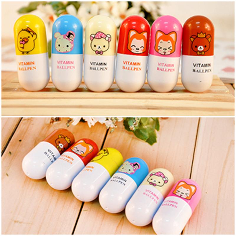 1 Pc Diy Cute Kawaii Cartoon Pill Ballpoint Pen Telescopic Ball Pen For Kids font b
