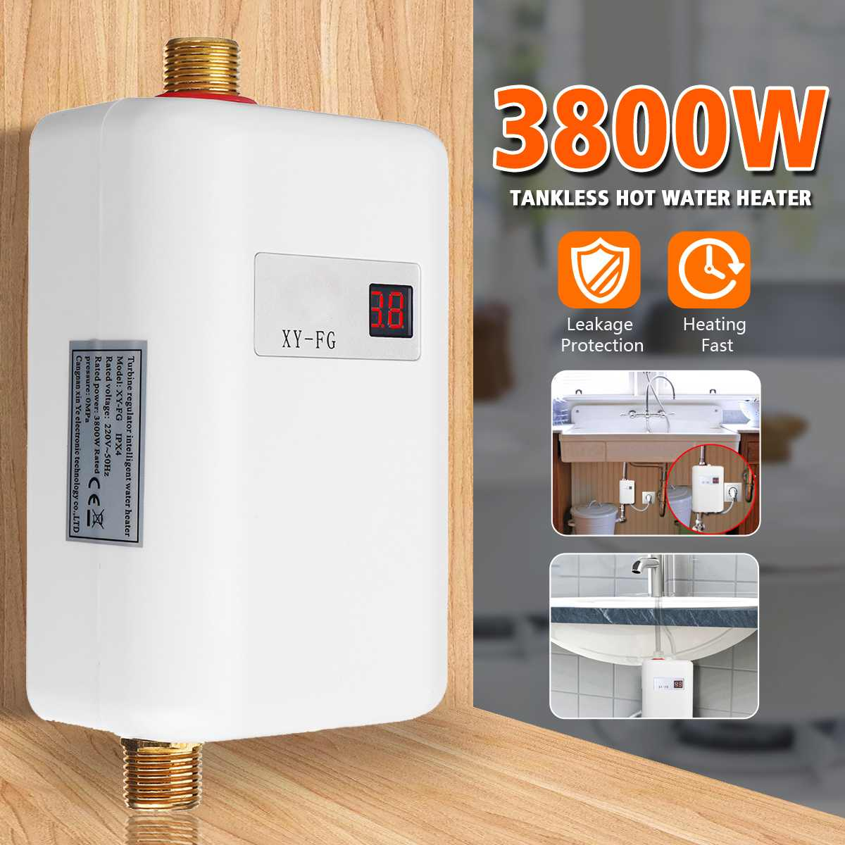 220V 3800W Water Heater Bathroom Faucet Shower Tankless Kitchen Instant Electric Hot Water Heater Tap Temperature LCD Display