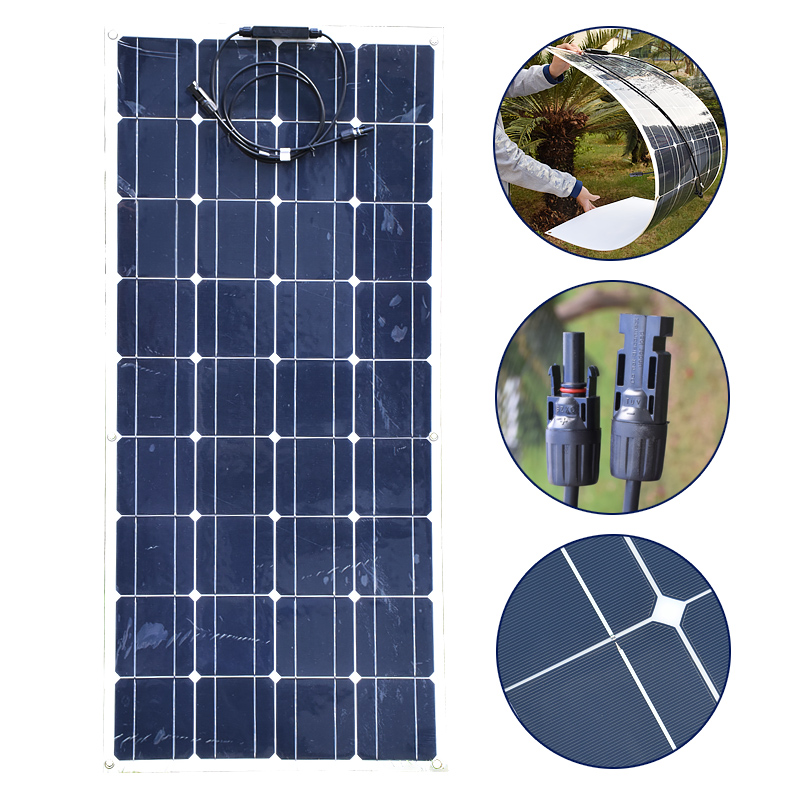100W 18V Solar Panel Monocrystalline Silicon Solar Board With 30A 12V/24V Solar Charger Controller For Battery Car Boart