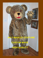 deluxe fur teddy bear mascot costume adult cartoon character hot sale anime cosply bear theme fancy dress mascotte kits 1714