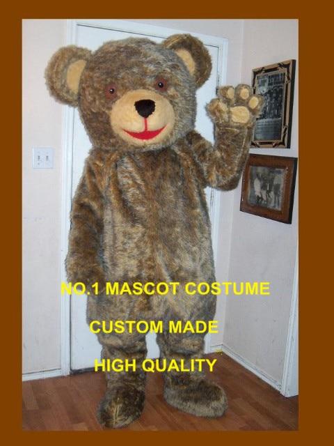 deluxe fur teddy bear mascot costume adult cartoon character hot sale anime cosply bear theme fancy dress mascotte kits 1714