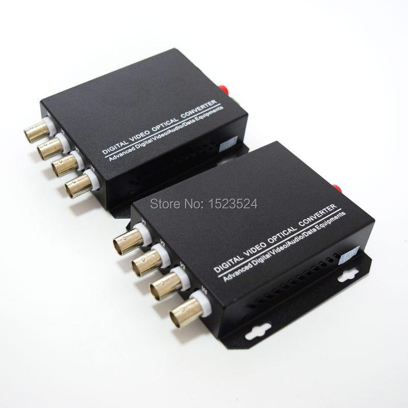 1 Pair 2 Pieces/lot 4 Channel Video Optical Converter 4V1D Fiber Optic Video Optical Transmitter & Receiver 4CH +RS485 Data