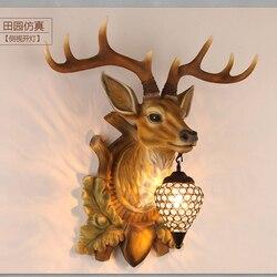 Oświetlenie zewnętrzne żywica retro w stylu vintage jelenie głowy kinkiet led kryty nowoczesne lampy ścienne dla domu AC 110 V- 220 V
