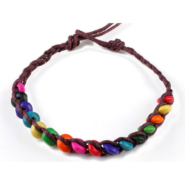 Whole Wood Beads Coffee Rope String Weave Friendship Bracelets Handmade Charm Strand Bangle Jewelry